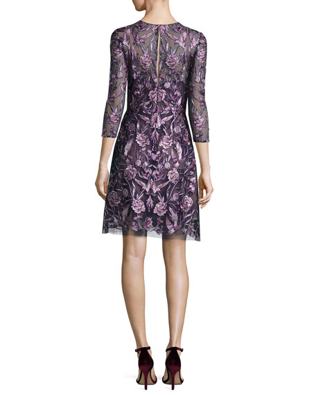 Marchesa Notte Black Women's Size 8 Floral Embroidered Sheath Dress $845-  #517