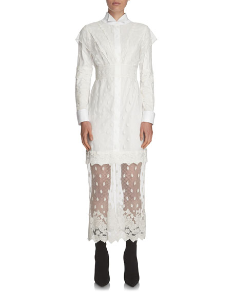 Shirting Dress with Lace Overlay
