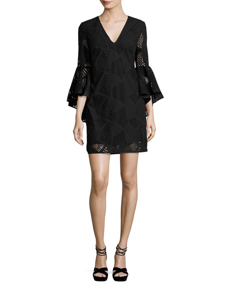 Nicole Bell-Sleeve Embroidered Cotton Shift Dress, Black