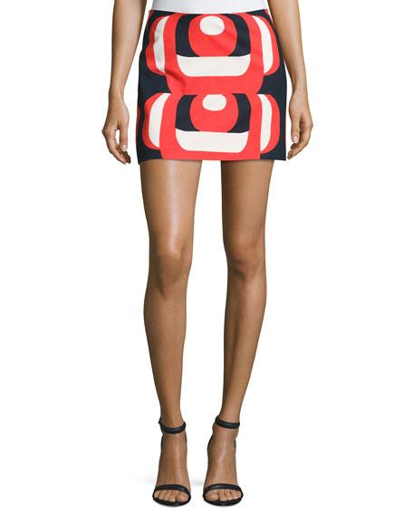 Milly Amphora Mod-Print Miniskirt, Red Multi