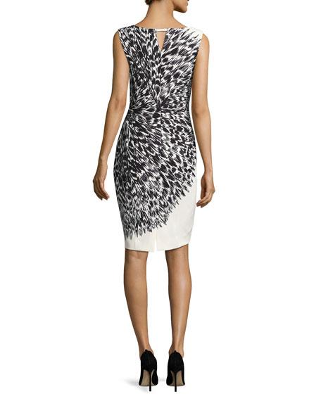 Cady Brushstroke Feather-Print Sheath Dress, Black/White