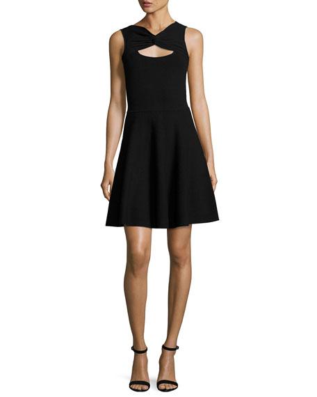 Milly Sleeveless Twist Fit-&-Flare Dress, Black