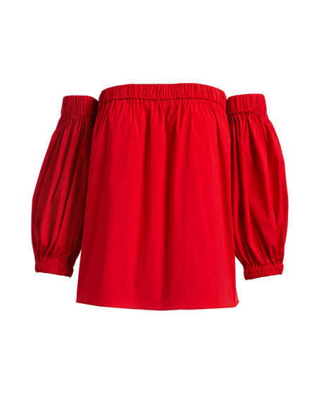 Off-the-Shoulder Cotton Poplin Blouse, Red