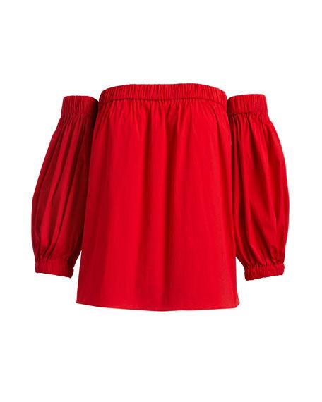 Off-the-Shoulder Cotton Poplin Blouse, Red