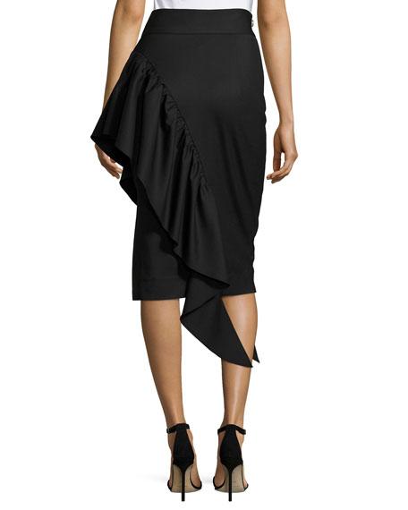 Angelina Gabardine Cascading Ruffle Midi Skirt, Black