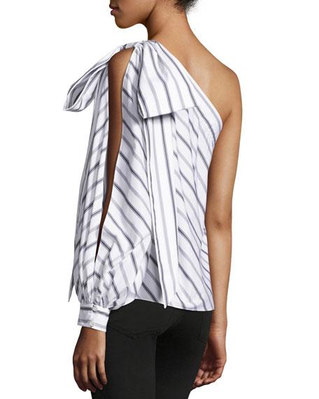 Nina One-Shoulder Striped Shirting Top, White