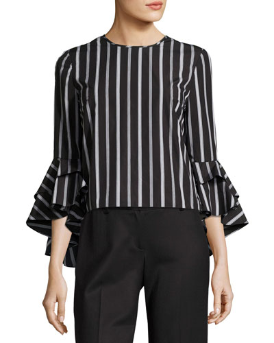 Gabby Striped Ruffle-Sleeve Top, Black