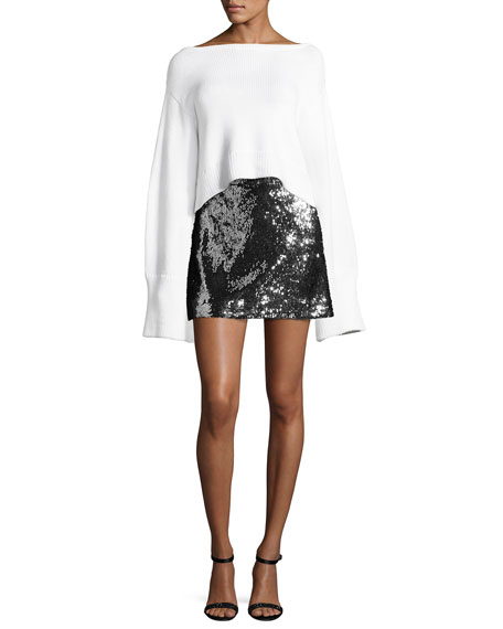 Sequined Modern Miniskirt, Silver/Black