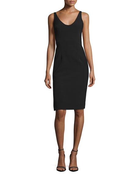 Cora Sleeveless Italian Cady Sheath Dress, Black