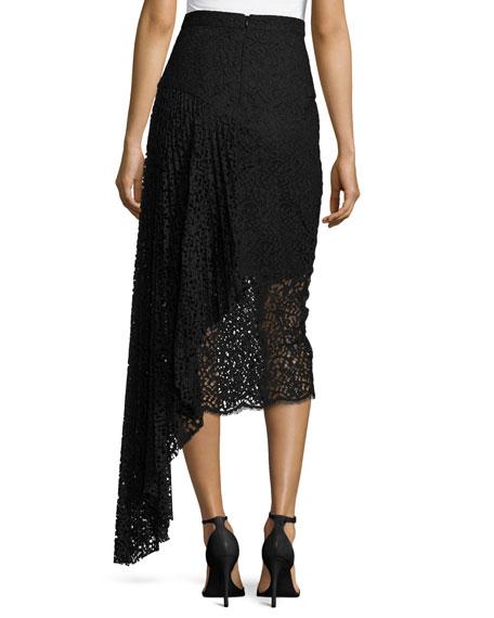 Lace Pencil Midi Skirt w/ Side Cascade, Black