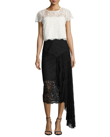 Lace Pencil Midi Skirt w/ Side Cascade, Black