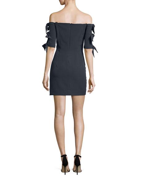 Caroline Off-the-Shoulder Italian Cady Minidress, Slate