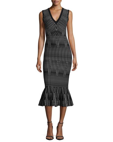 Sleeveless Optical-Print Mermaid Midi Dress, Black/White