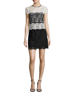 Gabrielle Colorblocked Lace Minidress