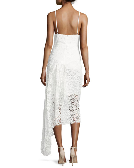 Gisele Lace Midi Dress w/ Side Cascade, White