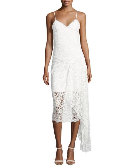 Milly Gisele Lace Midi Dress w/ Side Cascade,