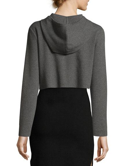 Cropped Hoodie Sweatshirt, Charcoal