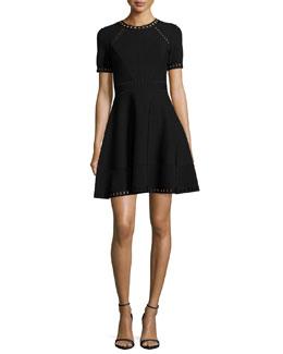 Short-Sleeve Pointelle-Trim Textured Knit Dress, Black