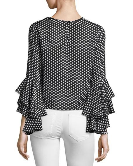 Gabby Dot-Print Silk Georgette Blouse, Black