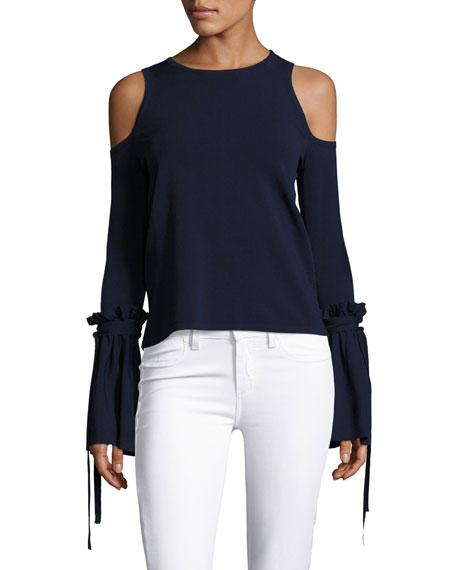 21375f0f2d7834 Milly Cold-Shoulder Tie-Sleeve Knit Top