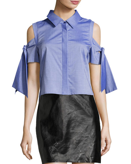Milly Paris Cold-Shoulder Cropped Shirting Top, Denim