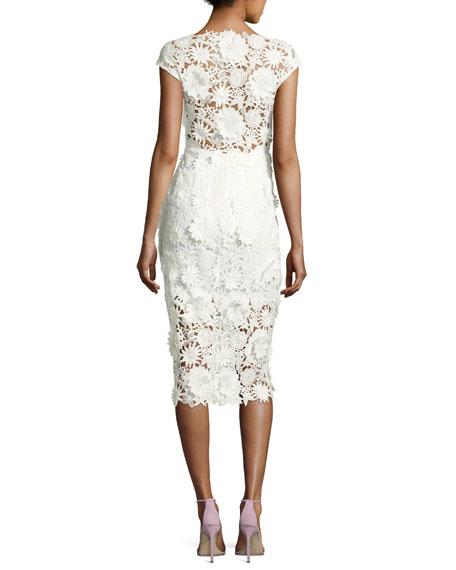 0471871d904 Milly Mari Cap-Sleeve 3D Floral Cocktail Dress