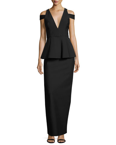 Claudia Stretch Crepe Cold-Shoulder Peplum Gown, Black