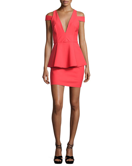 Simona Cold-Shoulder Peplum Cocktail Dress, Red