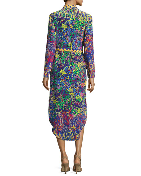 Molly Printed Silk Midi Shirtdress, Green