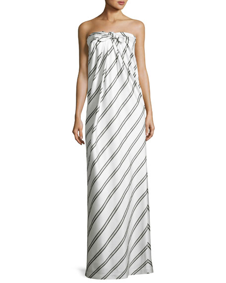 Striped Strapless Knot-Front Gown, White/Black