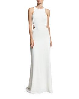 Sleeveless Cutout Crepe Column Gown, Chalk