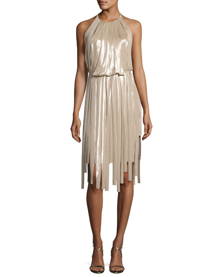 Pieced Metallic Halter Dress, Champagne