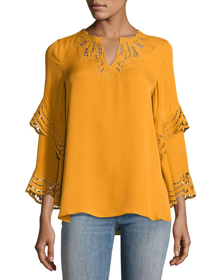 Lia Lace-Trim Bell-Sleeve Silk Blouse
