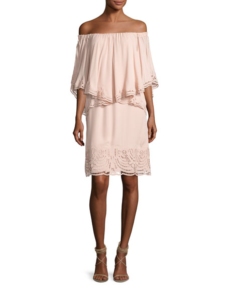 Image 1 of 1: Veronica Off-the-Shoulder Silk Popover Dress