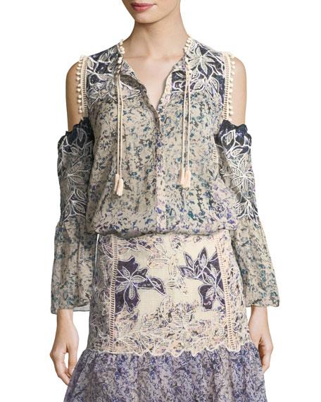 Liara Crochet-Trimmed Cold-Shoulder Blouse