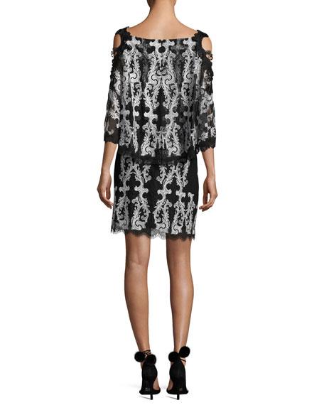 Reanna Cold-Shoulder Lace-Trim Popover Dress, Black/White