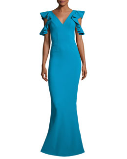 Beaufort Cold-Shoulder Ruffle-Sleeve Jersey Gown, Blue