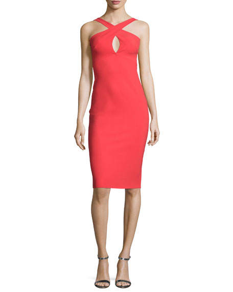 Nooren Sleeveless Grecian Cocktail Dress, Aragosta Orange
