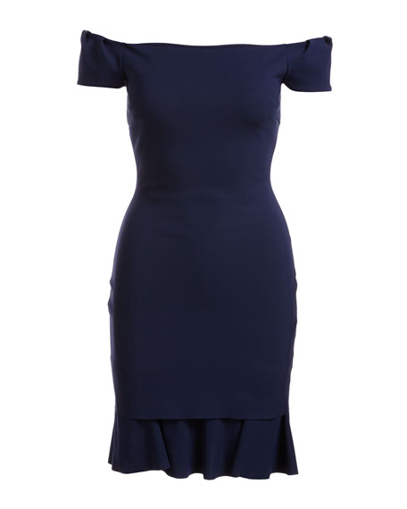 Dalane Cap-Sleeve Flounce Cocktail Dress, Navy