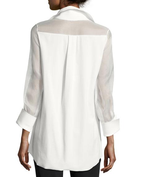 Augustina 3/4-Sleeve Organza-Trim Blouse, White