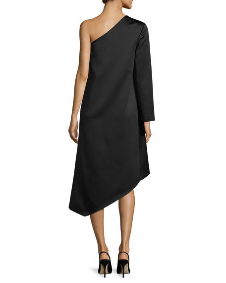 Idelle Asymmetric Satin Swing Dress, Black