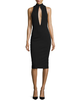 Maret Sleeveless Keyhole Sheath Dress, Black