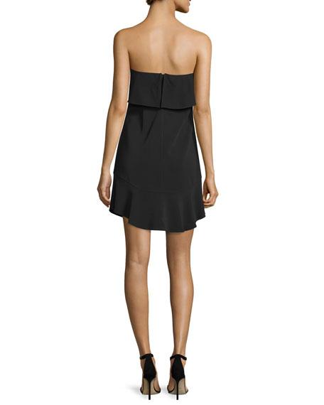 Romy Strapless Ruffle-Trim Mini Jersey Dress, Black