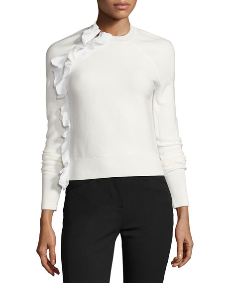 3.1 Phillip Lim Solid Ruffle Long-Sleeve Pullover Top,