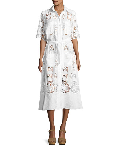 Berly Tropical Cotton Embroidered Midi Dress, White