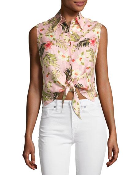 Nelline Palm-Printed Tie-Waist Linen Shirt, Pink