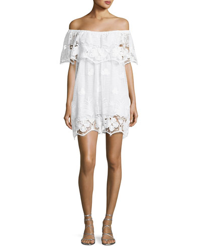 Angelique Tropical Scallop Lace Coverup Dress, White