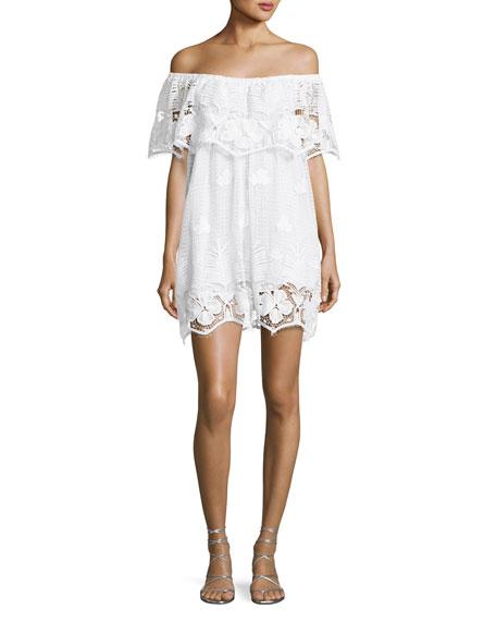 Angelique Tropical Scallop Lace Coverup Dress, White