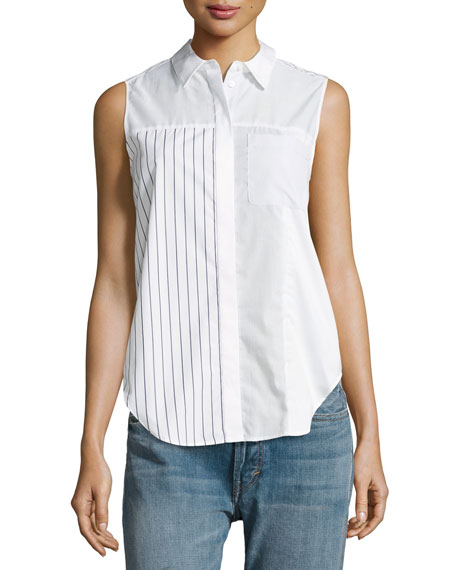 Patchwork Button Pocket Blouse, White