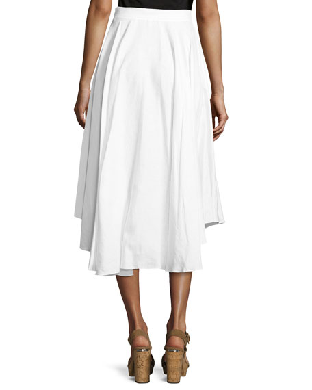 Gale Mid-Ride Linen Midi Skirt, White
